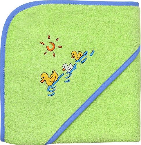 Wörner Serviette de bain à capuche en tissu éponge motif canards Vert 80 x 80 cm