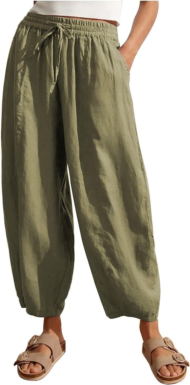 KOPLTYRFG Women's Solid Color Wide Leg Pants Loose Elastic Waist Trousers