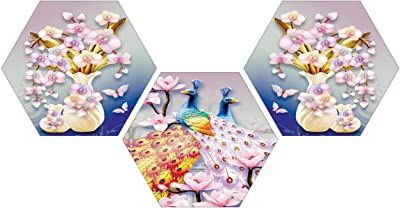SAF Set of 3 Hexagon Couple Peacock with Flower Pot UV Textured Multi-Effect MDF Painting 17 Inch X 17 Inch SANFHX39SMALL
