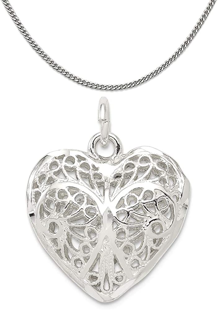 Shipping included Mireval Sterling Award-winning store Silver Heart Charm a on N Chain