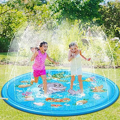 Luchild Splash Pad,170CM Aspersor de Juegos de Agua para Niños PVC Splash Play Mat Almohadilla de Juego de Agua para Niños para Jardín de Verano Juguetes Acuático Actividades Familiares