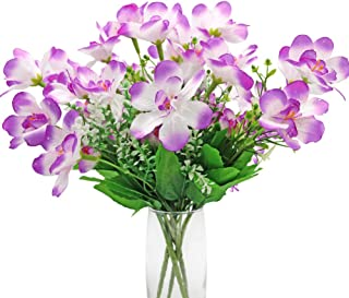JUDYME 4 Bouquet Artificial Silk Magnolia Flowers with Stems Real Touch,6 Head Purple Magnolia Flower Decor Arrangements for Vase Wedding Home Table Office