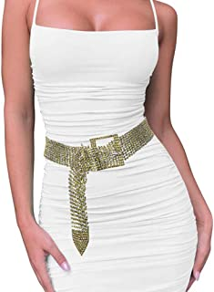 Crystal Rhinestone belt Sparkle Waist Chain for women Party Club Waistband GREEN