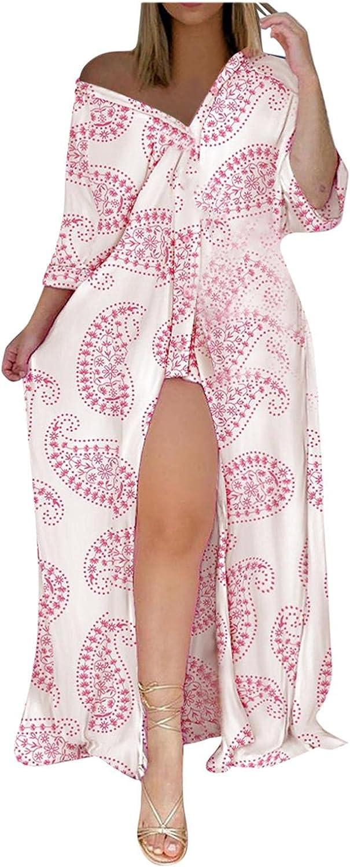 Sayhi Womens Casual Shirt Dresses Print V-Neck Lacing Slim Body Wrap Hips Shirt Long Loose Dress Holiday Dresses