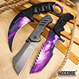 EDC Pocket Knife Fixed Blade 3PC Camping Accessories Combo Set BUCKSHOT KNIVES 7.5' GALAXY CS GO KARAMBIT KNIFE + 6.5' Buckshot Cleaver Pocket Folding Knife + 8.5' Military Bowie Survival Knife 05191