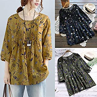 Extaum Vintage Women Cotton Blouse Floral Print O-Neck 3/4 Sleeve Casual Loose Shirt Tee Tops Yellow/Green/Blue