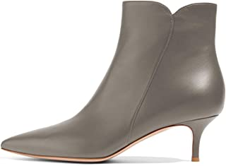 Women Dressy Kitten Low Heel Ankle Boots Pointed Toe Booties Shoes with Zips