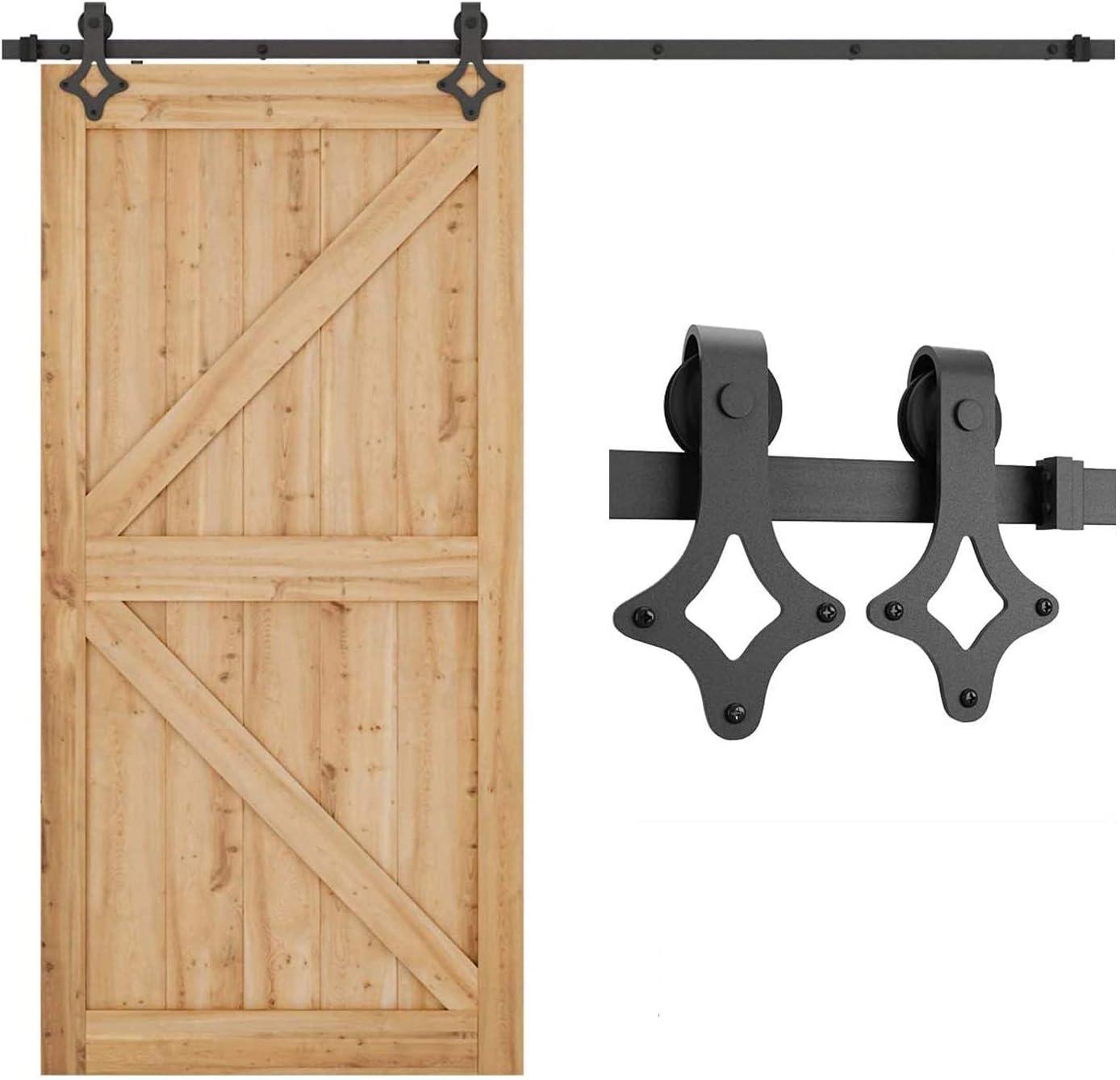SMARTSTANDARD 8FT Heavy Duty Sliding New product! New type Door Barn Hardware Sin Kit Superlatite