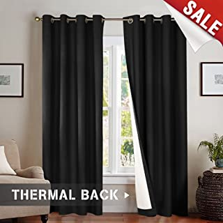 Blackout Curtains Black 84 inch Bedroom Window Curtain Set Thermal Insulated Grommet Top 2 Panels