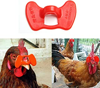 Acxico 100Pcs red needleless repetitive Anti-Injury Chicken Peeper and Poultry Non-tethered Looper Glasses