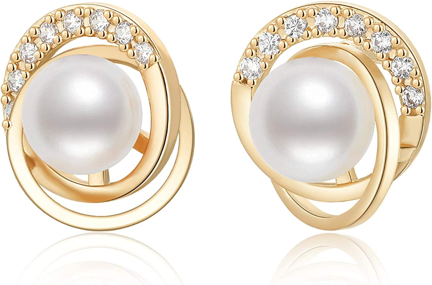 Pearl Stud Earrings for Women Pearl Ear Studs Freshwater Cultured Hypoallergenic Pearl Jewelry Gift for Girls White Pearl