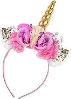 Floral Fall Unicorn Horn Headband Ears Photo Props Girl Birthday Outfit Squishy Cheeks DJ-01