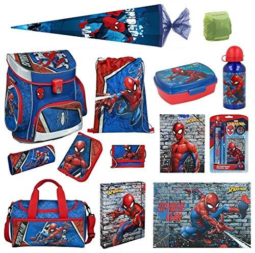 Familando Marvel Spiderman Schulranzen-Set 18tlg. Scooli Campus Fit Pro mit Sporttasche Schultüte 85cm und Regenschutz