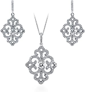 BERRICLE Rhodium Plated Sterling Silver Cubic Zirconia CZ Art Deco Filigree Bridal Bridesmaid Necklace and Earrings Set