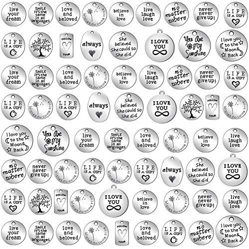 WILLBOND 70 Pezzi Ciondoli Parole Ispirazione Collezioni Charm Ciondolo in Argento Antico Forniture per Gioielli per Braccialetti Fai-da-Te (Collezione Ispirazione)