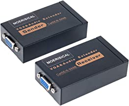 MOERISICAL VGA Cat5e Cat6 Extender 300ft Video Repeater Over Ethernet Cable, up to up to 100m, Sender+Receiver