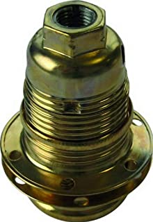 Electraline 71125 Threaded E14 Light Bulb Socket with 2 Rings Brass