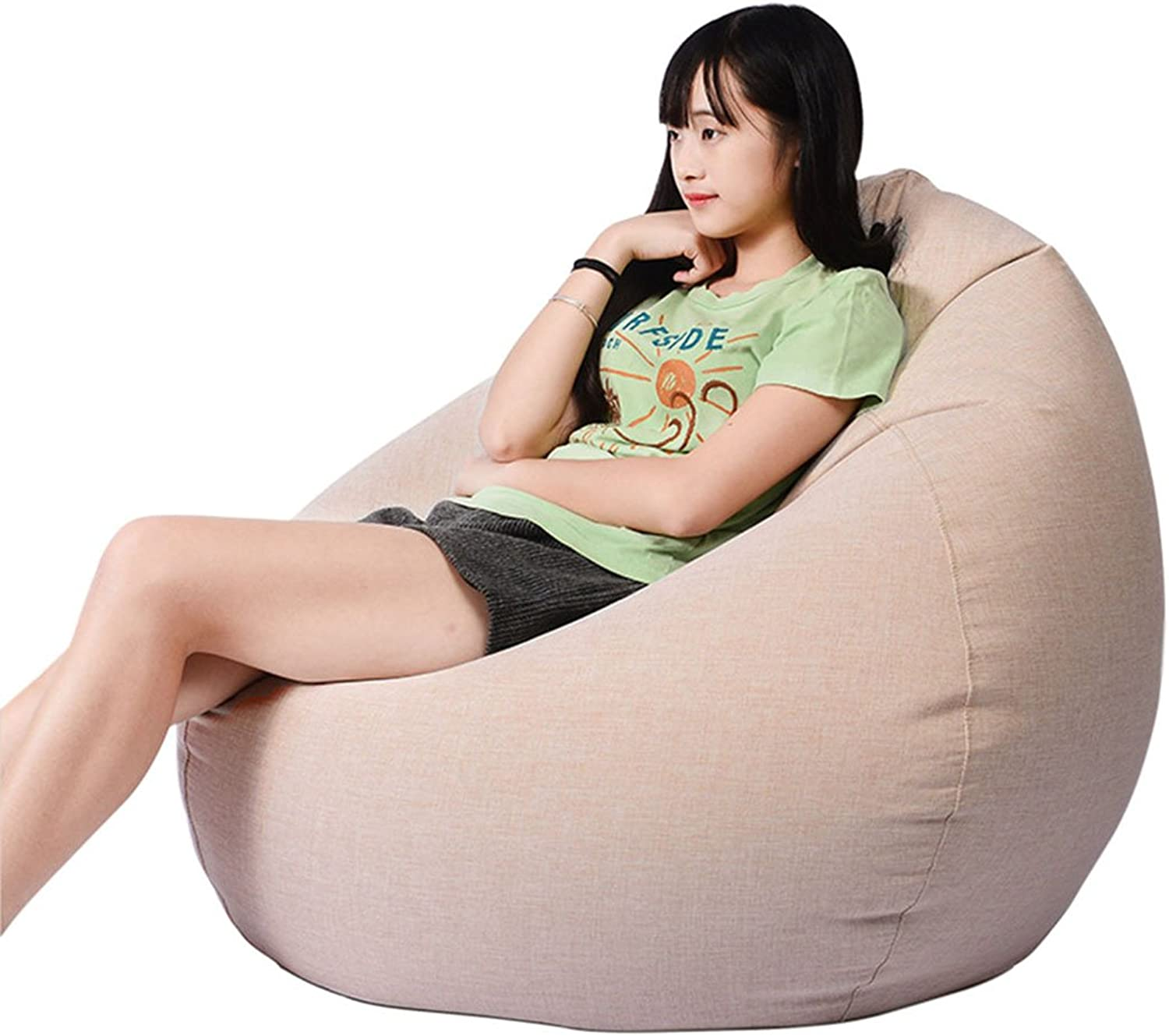 Freahap Huge Bean Bag Chair 35  for Adult Memory Foam Filled Sofa Lounge Couch Removable Cover Apricot
