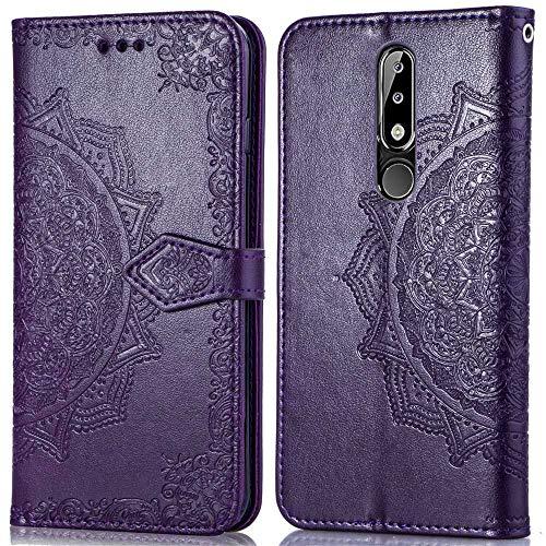Bear Village Hülle für Nokia 5.1 Plus, PU Lederhülle Handyhülle für Nokia 5.1 Plus, Brieftasche Kratzfestes Magnet Handytasche mit Kartenfach, Violett
