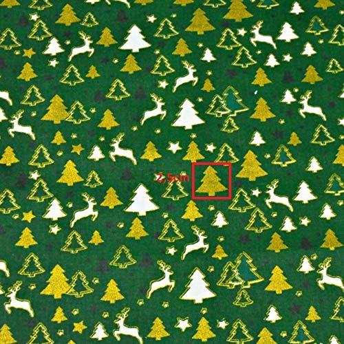 Pingianer jul 100 % bomull 50 x 160 cm bomullstyg säljs av meter hantverk sömnad tyg julgran ren grönt guld