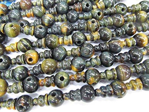 Handmade 10 SETS Tiger eye stone,green jade agate 3 hole beads,T-Beads Set, Guru Beads, Prayer Beads, Mala Making Cones Beads, T hole set connector