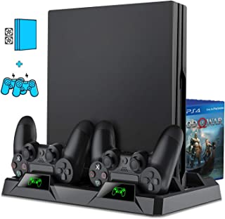 PS4 スタンド BEBONCOOL PS4 PRO/SLIM 縦置きスタンド PS4 冷却 ファン 置くだけ コントローラー充電 スタンド ゲームディスク収納