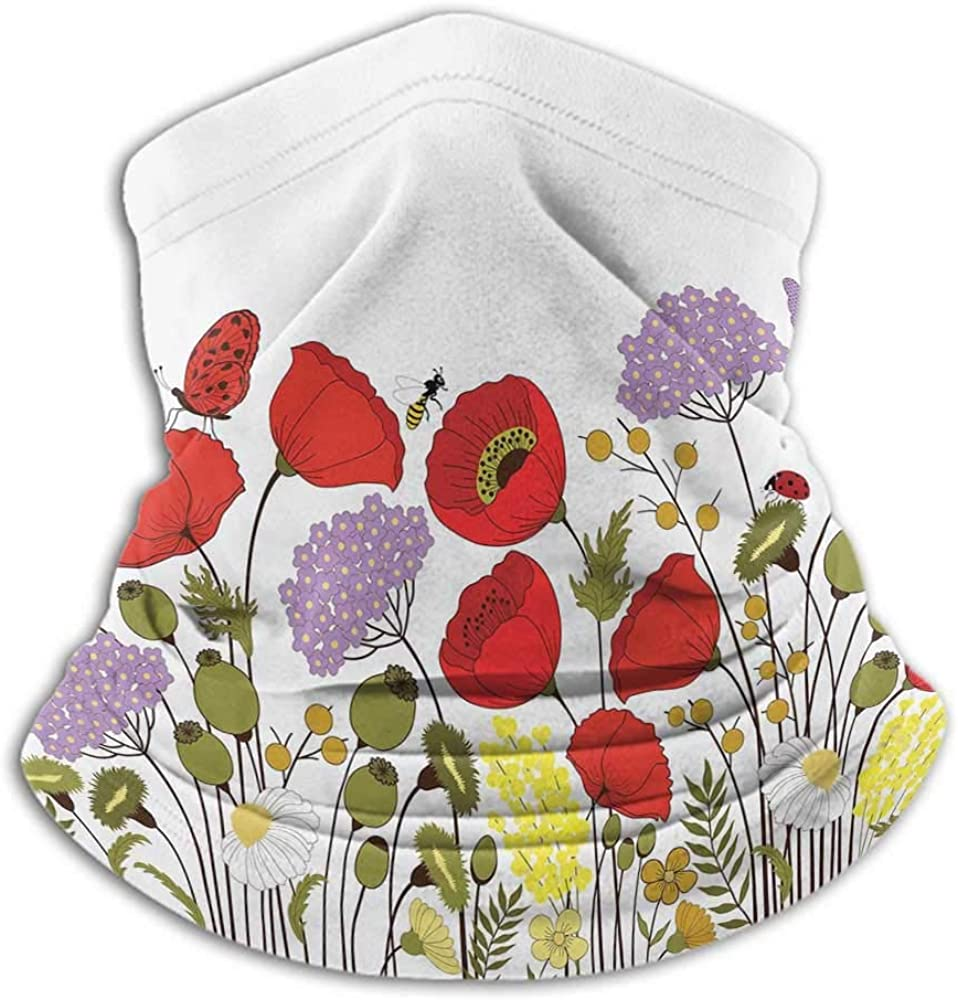 Face Bandana Green Flower Cold Weather Face Motorcycle Scarf Hand Drawn Nature Scene with Foliage and Fauna Elements Honey Bees Butterflies Multicolor