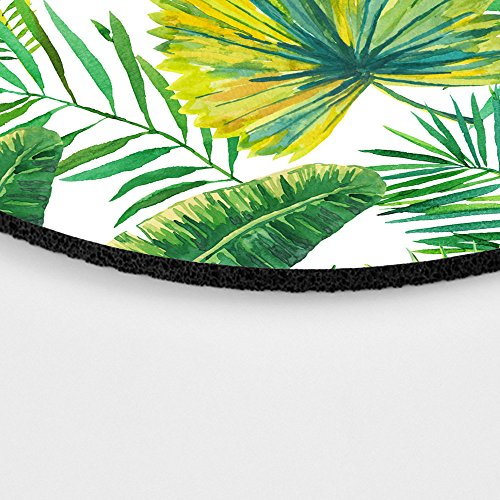 Green Palm Leaves on The White Background Round Mouse pad Customized Non Slip Rubber Round Mouse pad Non Slip Rubber Mouse pad Gaming Mouse Pad Photo #6