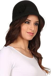 Sakkas Lola Vintage Style Wool Cloche Bucket Fish Net with Flower Brim Cap Hat