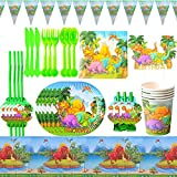 Vajilla de Dinosaurio Desechable - XCSW Set de 95 Piezas de Fiesta Diseño de Dinosaurio, Incluye Pancarta, Platos,Vasos, Cubiertos, Servilletas,Mantel, 10 Personas