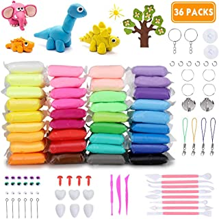 DaCool Modeling Clay 36 Colors Air Dry Ultra Light Soft Magic Molding Clay DIY Plasticine Craft Toy with Multiple Tools, Great Gift for Kids