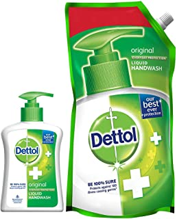 Dettol Liquid Handwash Refill Pouch, Original- 750ml + Dettol Liquid Handwash Pump, Original- 200ml