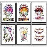 Arte dental Dientes Lienzo Pintura Arte de la pared Póster e impresiones Diente bucal de color agua Imagen anatómica Decoración de la clínica / 30x40cmx6 Sin marco