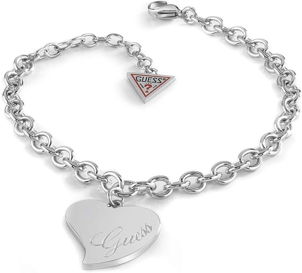 Guess, bracciale in acciaio, charm cuore con logo. UBB28094-S
