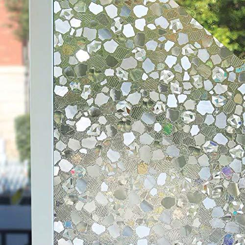 LMKJ Película de Ventana de privacidad 3D Pegatinas electrostáticas de Piedra Pegatinas de Vidrio Esmerilado Autoadhesivo PVC decoración del hogar película de privacidad A40 60x200cm