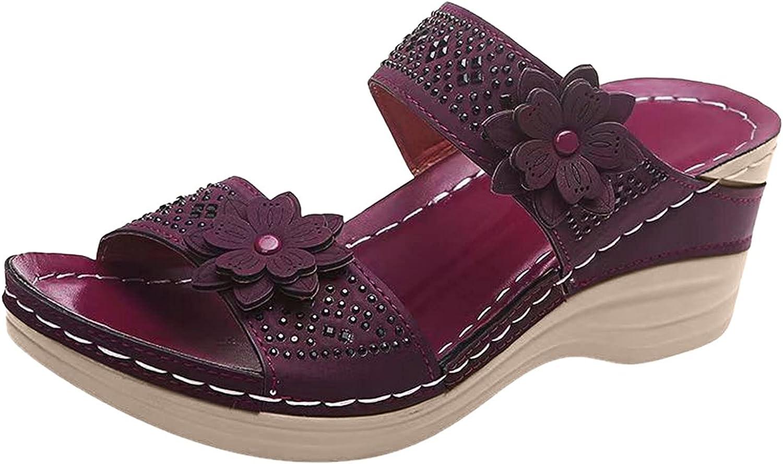 USYFAKGH Comfortable Women Flip Flop Sandals For Women Women Fashion Flowers Wedges Breathable Peep Toe Sandals Slip-On Beach Shoes Black,Wine,Brown