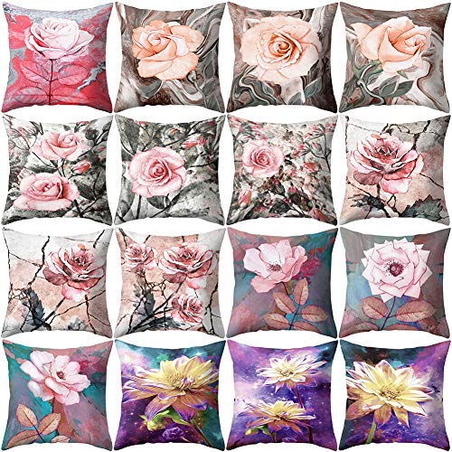 XdiseD9Xsmao Zachte Durable Square Rose Bloemenpatroon Kussenhoes Huis Bed Sofa Auto Office Ornament Decor 14#