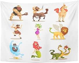Tarolo Decor Wall Tapestry Ancient Mythical Creatures Cyclops Centaur Unicorn Satyr Faun Medusa Gorgon Three Headed Dragon Mermaid 80 x 60 Inches Wall Hanging Picnic for Bedroom Living Room Dorm