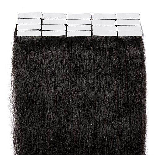 "20 Pcs Extension Adhesive Naturel Rajout Vrai Cheveux Humain Bande Adhesive Lisse (#1B Noir naturel, 20""(50cm))"