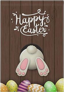 WIHVE حديقة العلم عيد الفصح الأرنب الأبيض أسفل البيض على الخشب مزدوجة الجانب طويل البوليستر العلم العلم ديكور المنزل العلم...