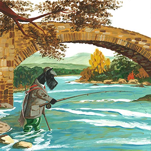 8x8 PRINT OF ORIGINAL PAINTING SCOTTIE SCOTTY RYTA SCOTTISH TERRIER DOG PET SALMON TROUT FISHING SCOTLAND FLY ROD INTERIOR HOME HOUSE DESIGN DECOR DECORATION FINE WALL ART