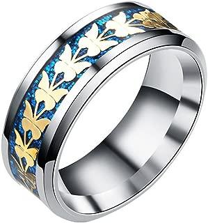 Balakie Women Men Fashion Ring Bohemian Vintage Silver Wide Butterfly Ring Jewelry Alloy