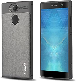Xperia XA2 Case, J&D [Lightweight Bumper] [Anti-Scratch] [Leather Texture Pattern] Shock Resistant Protective Rubber Silic...