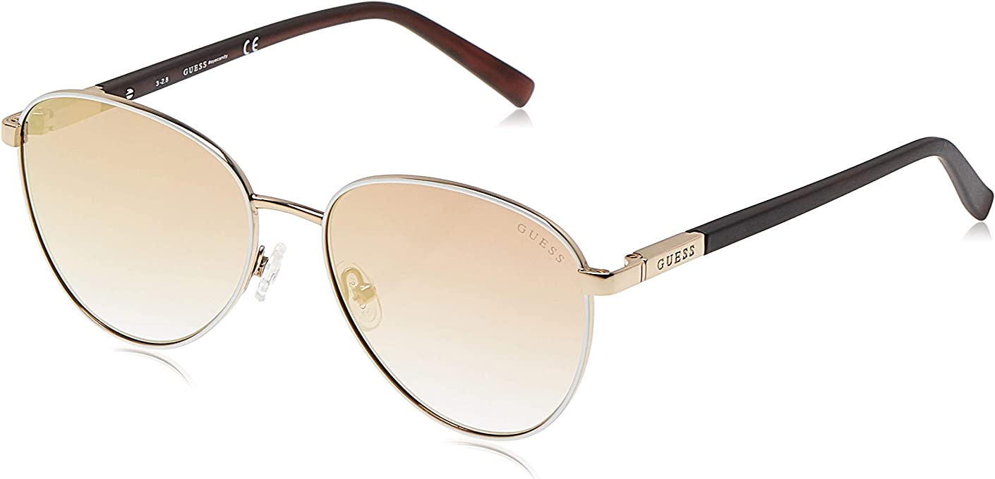 Guess Women's GU3041 GU3041 21F Round Sunglasses, Gold, 53 mm