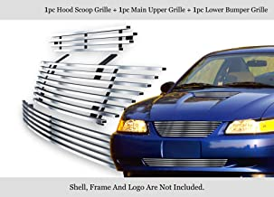 APS 304 Stainless Steel Billet Grille Combo Compatible with 1999-2004 Ford Mustang N19-C38878F