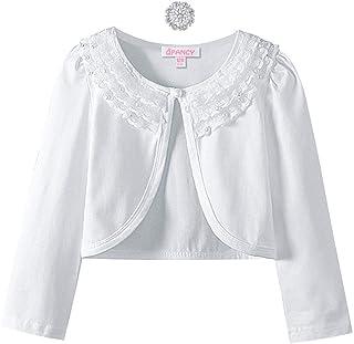 Girls Shrugs Lace Bolero Long Sleeve Cardigan Party Church Dress Cover Up