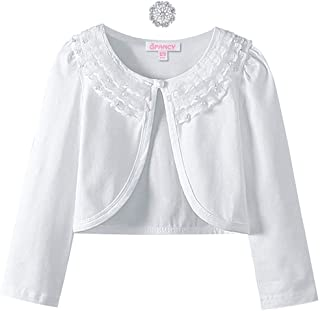 Girls Shrugs Lace Bolero Long Sleeve Cardigan Party Church Dress Cover Up