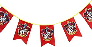 Birthday Pary Harry Gift Potter Wall Banner, Gryffindor | Hufflepuff | Ravenclaw | Slytherin House Decor Flag (3m 12pcs)