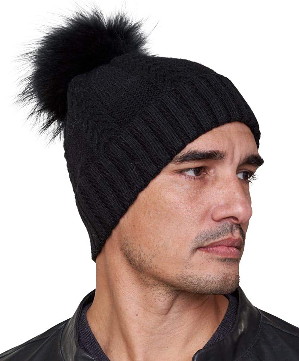Frr Tristan Black Knit Beanie Hat with Raccoon Fur