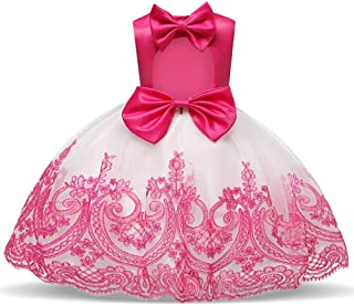 SEASHORE Girls 3-8 Years Off Shoulder Bowknot Princess Dress Satin Flower Girl Wedding Costume Piano Performance Clothing (Color : Pink, Size : 6-12 Months)